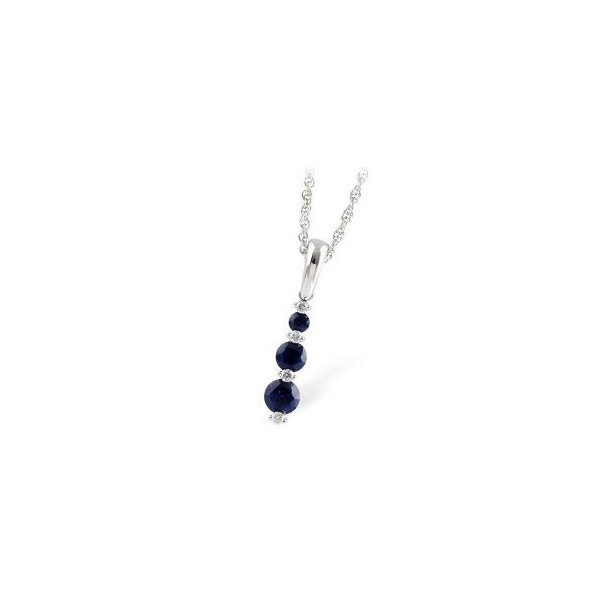 Pendant - White 14K Three Stone Drop Pendant With 0.55Tw Round Sapphires And 0.05Tw Round Diamonds