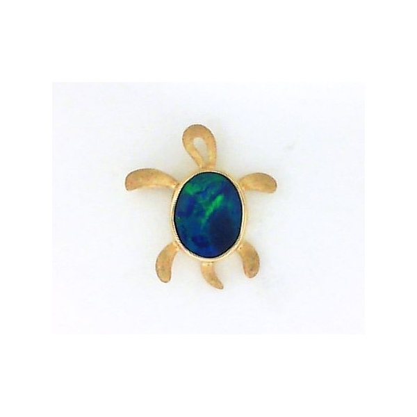 Pendant - Yellow 14K Turtle Pendant With One Oval Australian Opal Doublet