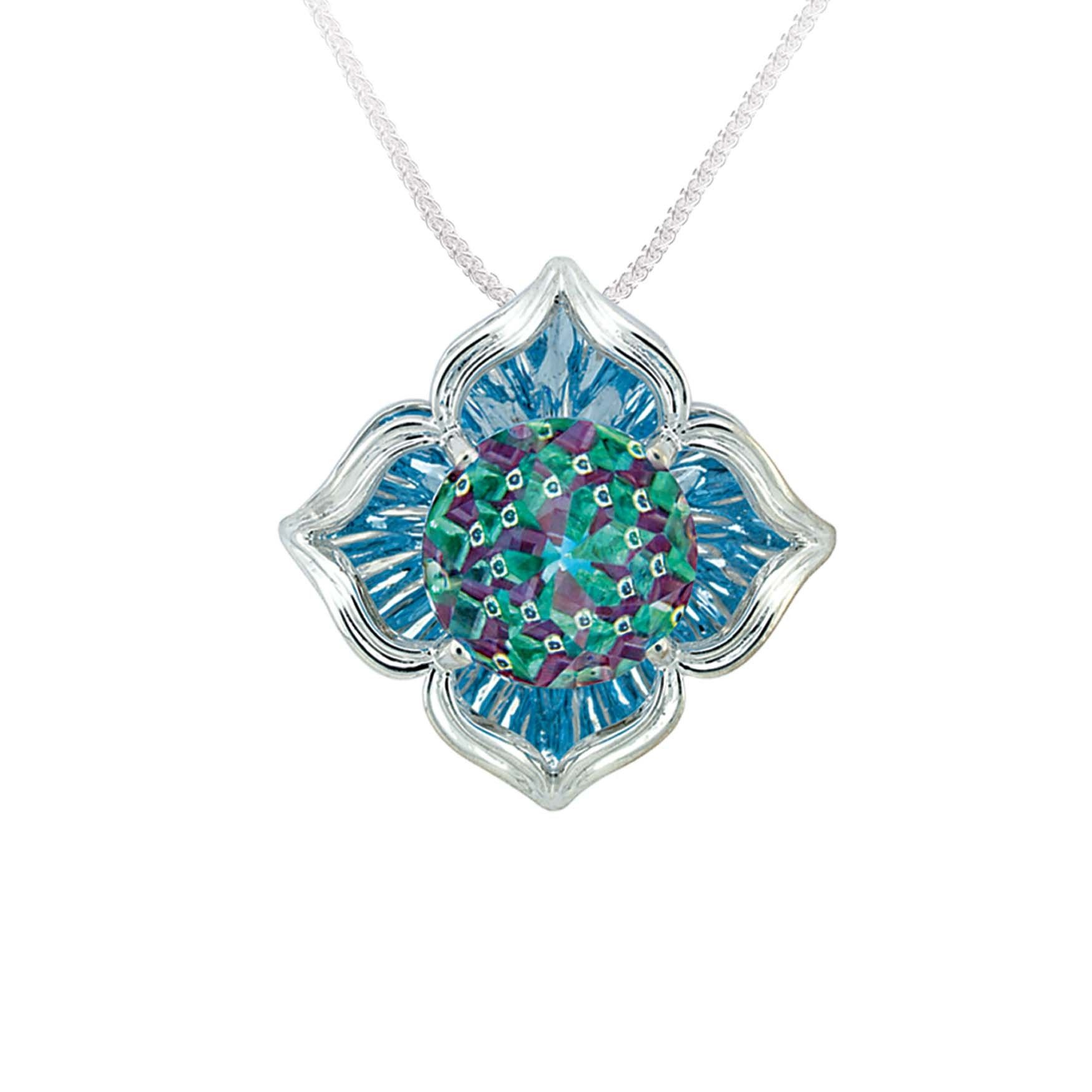 Pendant - White 14K Davinchi Pendant With One 10.00Mm Davinchi Cut Blue Topaz