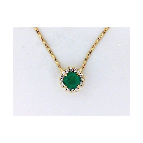 Pendant - Yellow 14K Halo Pendant With One 0.46Ct Round Emerald And 0.08Tw Round Diamonds