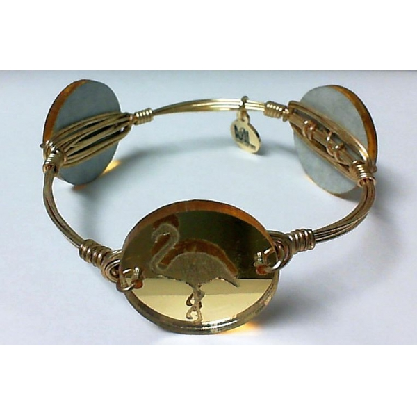 Bracelet - Mirrored Gold, Gold Finished Flamingo Bangle Bracelet Notes: Medium Charm