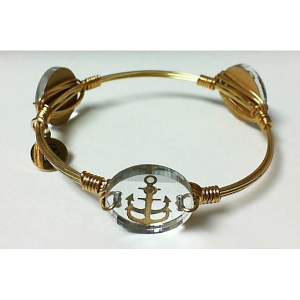 Bracelet - Mirrored Silver Gold Finished Anchor Bangle Bracelet Notes: Small Charm
