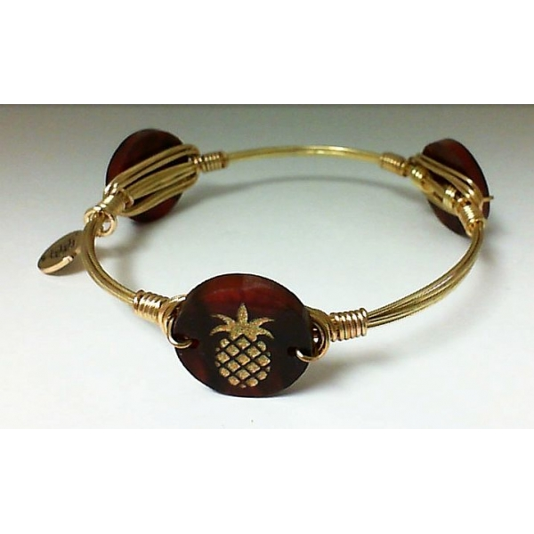 Bracelet - Tortoise Shell Gold Finished Pineapple Bangle Bracelet Notes: Small Charm