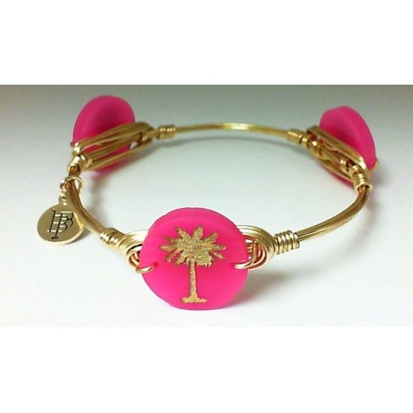 Bracelet - Hot Pink Gold Finished Palm Tree Bangle Bracelet Notes: Small Charm
