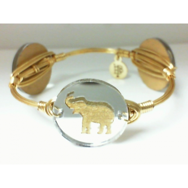 Bracelet - Mirrored Silver Gold Finished Elephant Bangle Bracelet Notes: Medium Charm