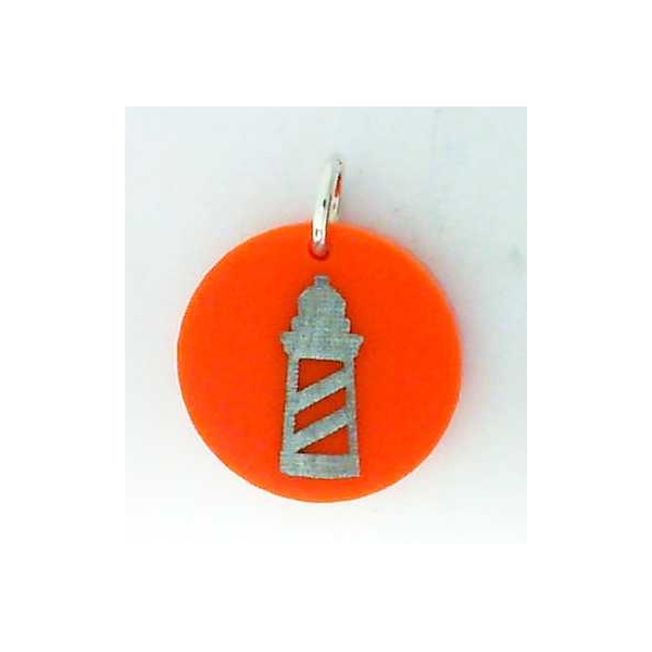 Charm - Silver Lighthouse Eden Charm Color: Tangerine