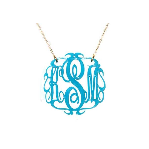 Necklace - Gold Filled Paris Script Monogram Necklace
