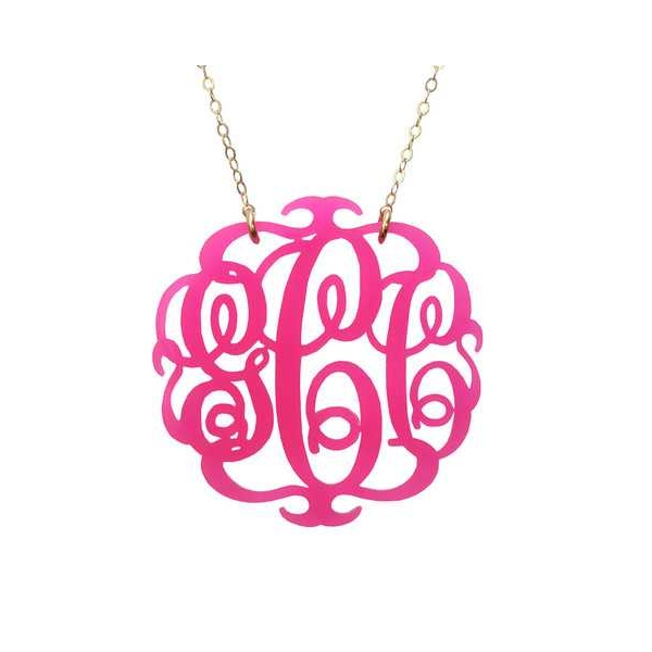 Necklace - Gold Filled Paris Script Monogram Necklace Necklace Color: Hot Pink