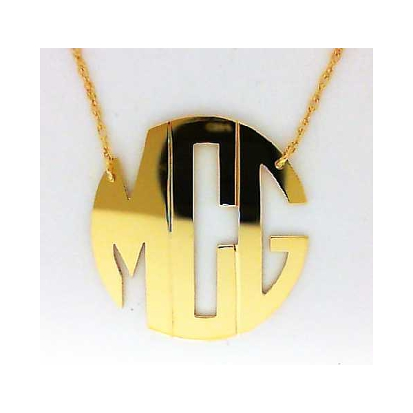 Necklace - Yellow Gold Filled Small Hampton Block Monogram Necklace Notes: MCG