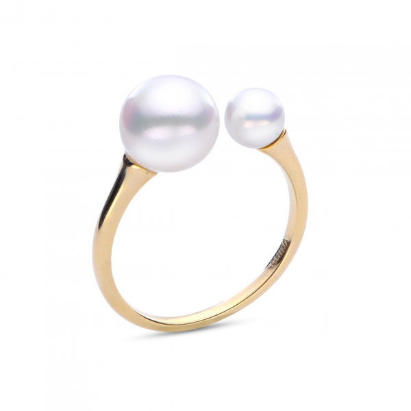 Ring - Yellow 14K Two Pearl Ring With Fresh Water Pearls