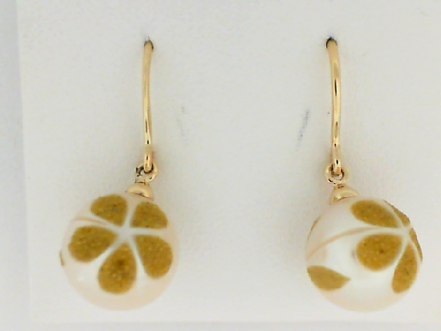 Earrings - Yellow 14K Dangle Earrings With Cultured Pearls And Round Created Yellow Diamonds
