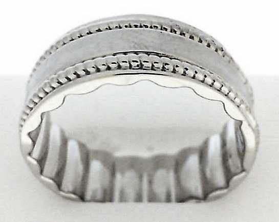 Wedding Band - White 10K Satin And Polished M Fit® Wedding Band Size 10 MM Width: 8