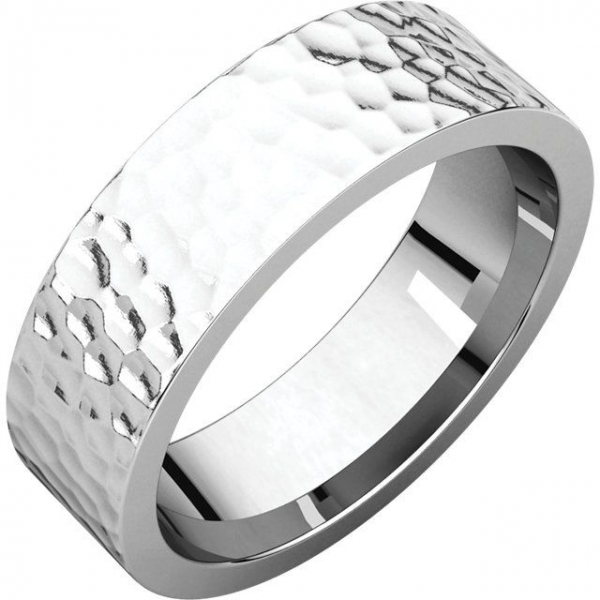 Wedding Band - White 14K Hammered Flat Comfort Fit Wedding Band MM Width: 6 Notes: 10.5