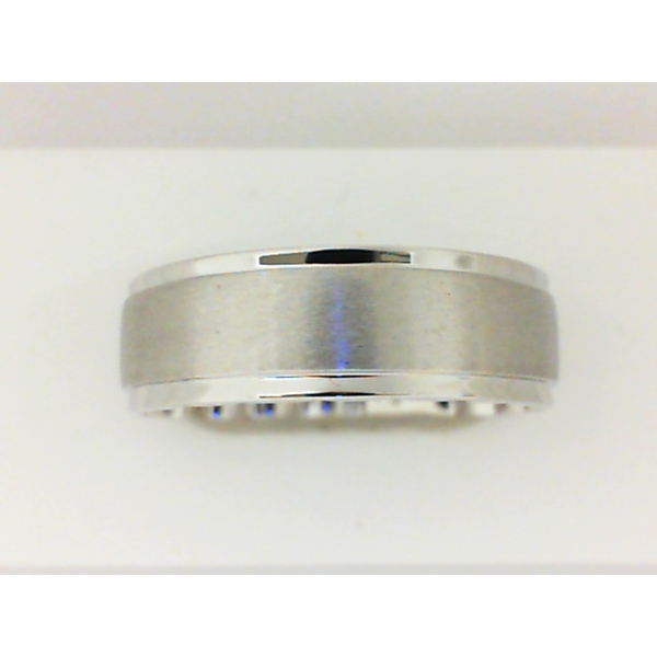 Wedding Band - White 10K Satin And Polished M Fit® Wedding Band Size 10.5 MM Width: 7