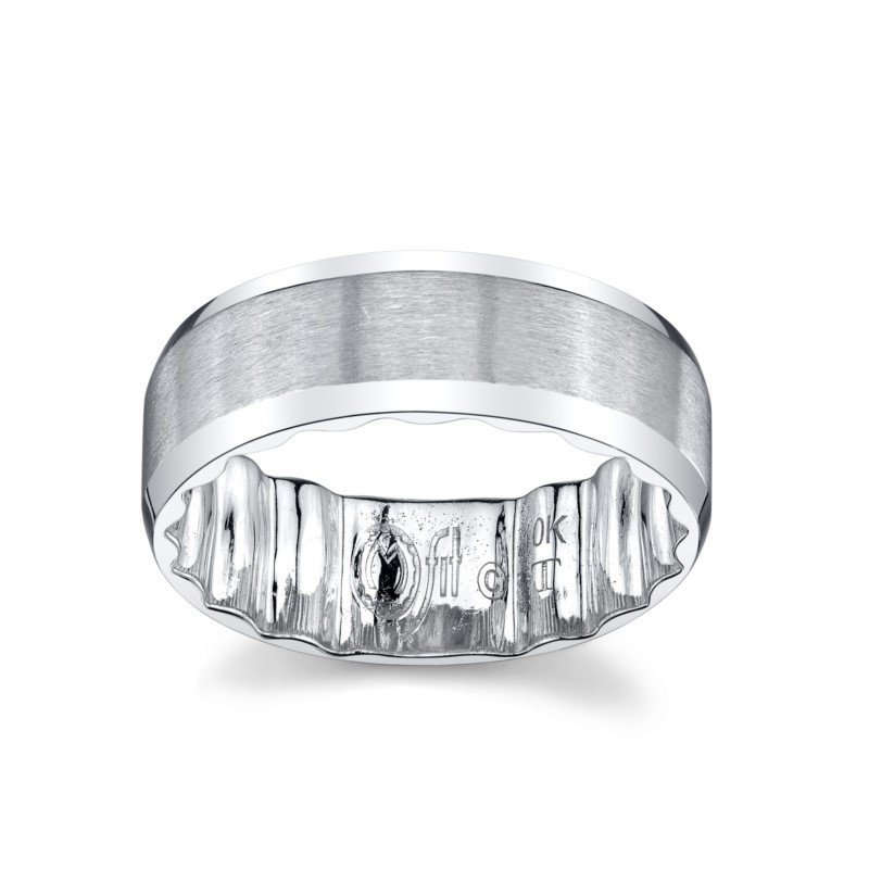 Wedding Band - White 10K Satin And Polished M Fit® Wedding Band Size 10.5 MM Width: 8