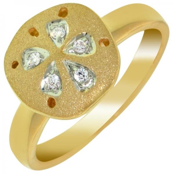 Ring - Yellow 14K Satin And Polished Sand Dollar Ring With 0.12Tw Rnd Dias