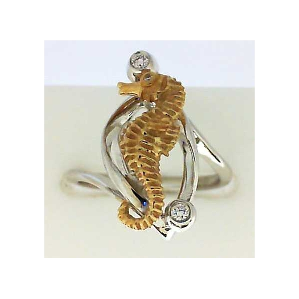 Ring - Two-Tone 14K Satin And Polished Sea Horse Ring