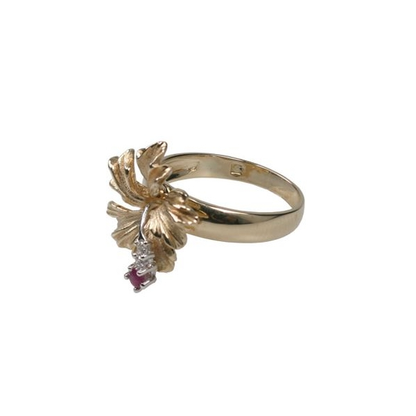 Ring - Two-Tone 14K Hibiscus Ring With One 0.08Ct Round Ruby And 0.03Tw Round Diamonds