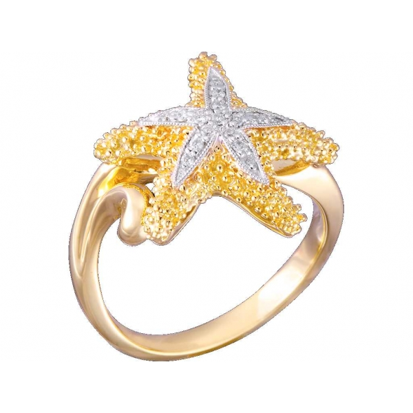Ring - Two-Tone 14K Satin And Polished Sea Star Ring With 0.08Tw Rnd Dias