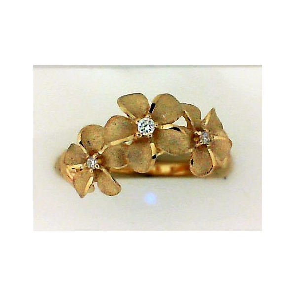 Ring - Yellow 14K Satin And Polished Three Plumeria Ring