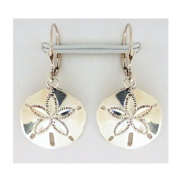 Earrings - Sterling Silver Sand Dollar Dangle Earrings