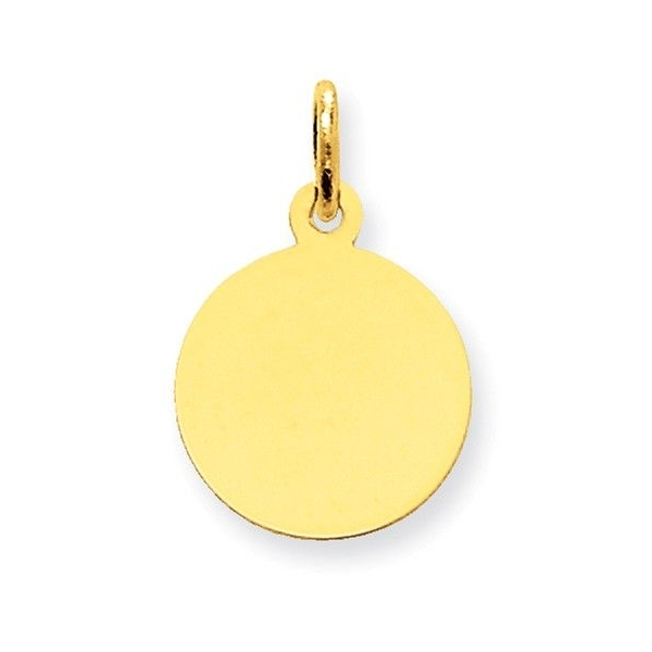 Pendant - Yellow 14K Engraveable Disc Charm