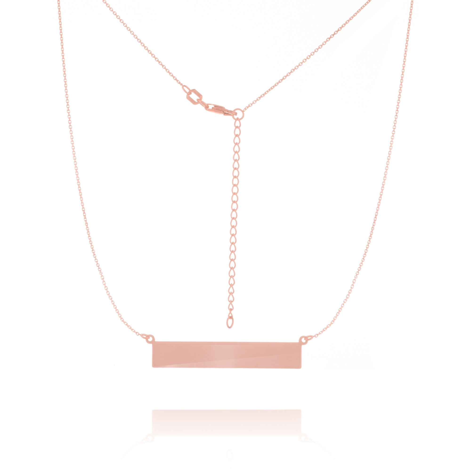 Pendant - Rose Gold 14K Bar Name Plate Pendant
