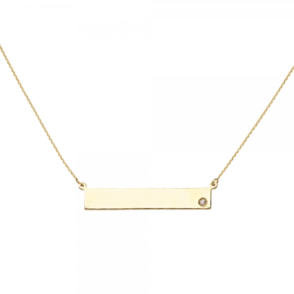 Pendant - Yellow 14K Plate Pendant With One Rnd Dia Notes: ONE LINE OF ENGRAVING INCLUDED