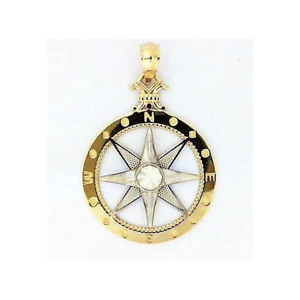 Pendant - Two-Tone 14K Diamond Cut Compass Pendant