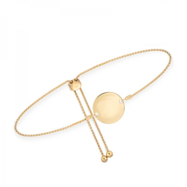Bracelet - Yellow 14K Engravable Disc Bolo Bracelet