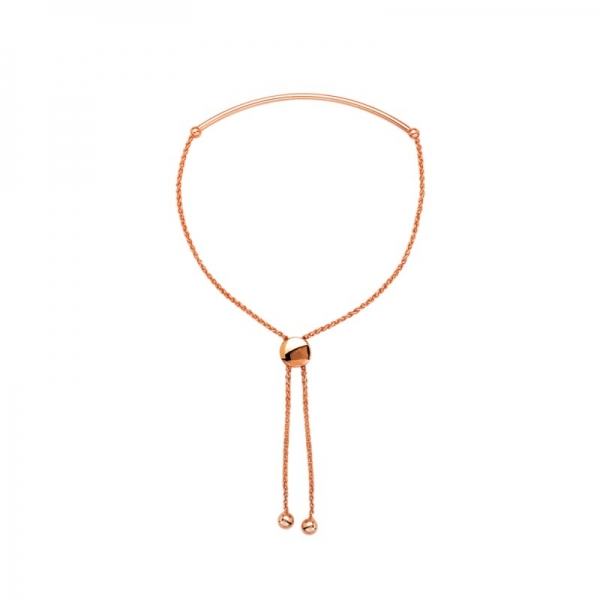 Bracelet - Rose Gold 14K Curved Tube Bolo Bracelet