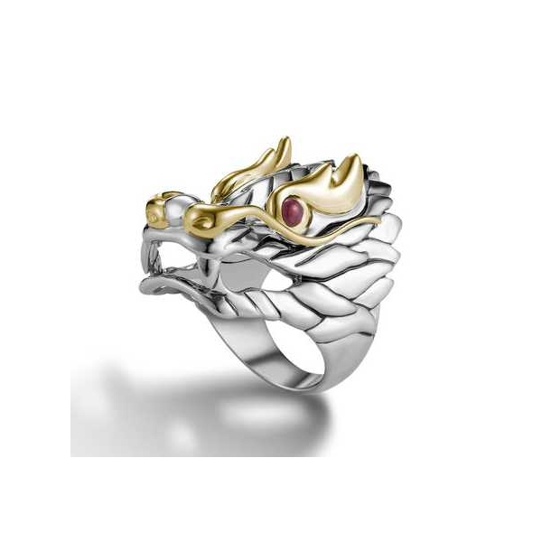 Ring - Sterling And 18K Naga Dragon Ring Size 7 With Cabochon Rubys