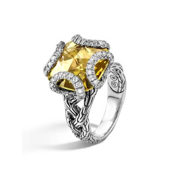 Ring - Sterling Silver Classic Chain Braid Ring Size 7 With One 10.00X10.00Mm Cushion Cut Citrine And 0.23Tw Rnd Dias