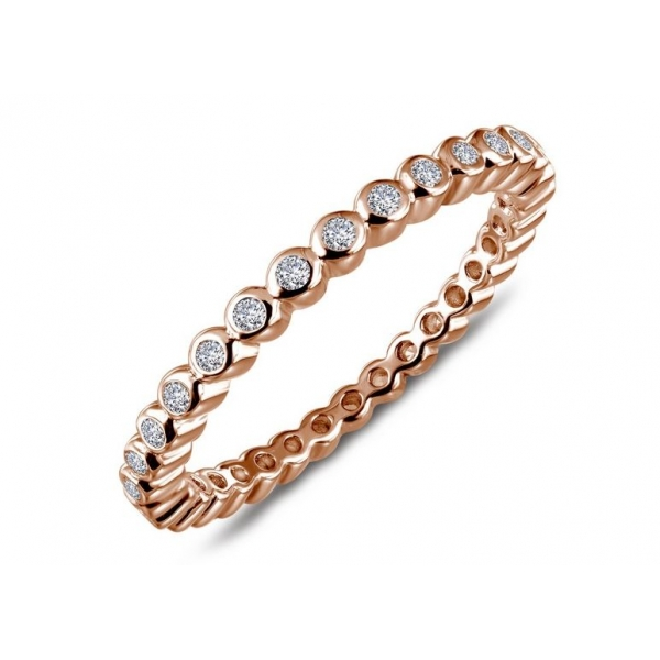 Ring - Sterling Silver Rose Gold Finished Eternity Ring Size 7 With 0.32Tw Round Lassaire Simulated Dias