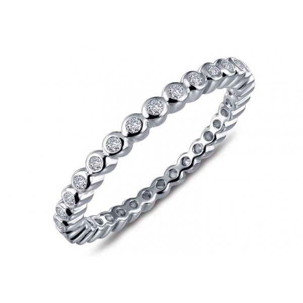 Ring - Sterling Silver Rhodium Finished Eternity Ring Size 7 With 0.32Tw Round Lassaire Simulated Dias