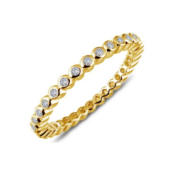 Ring - Sterling Silver Gold Finished Eternity Ring Size 7 With 0.32Tw Round Lassaire Simulated Dias