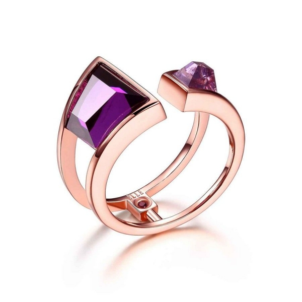 Ring - 14K Rose Gold Finished Geometric Ring Size 7 With Fancy Cut Purple Czs