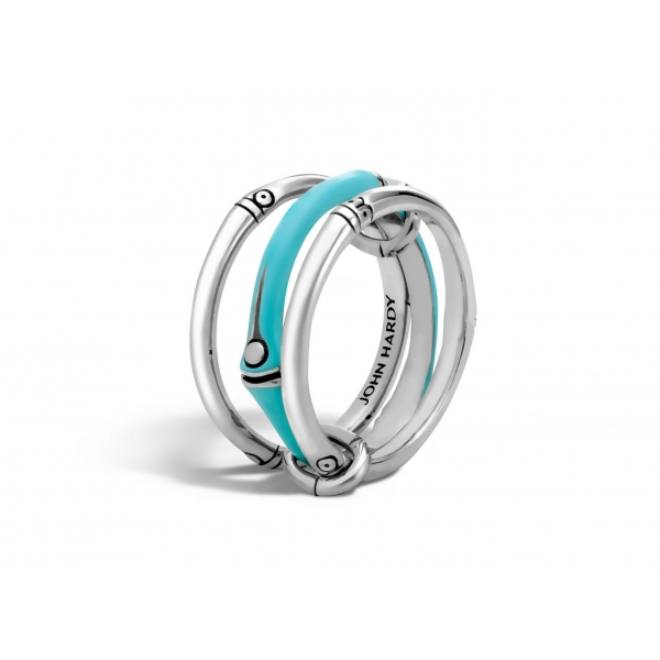 Ring - Sterling Silver Turquoise Enameled Bamboo Three Band Linked Ring Size 7