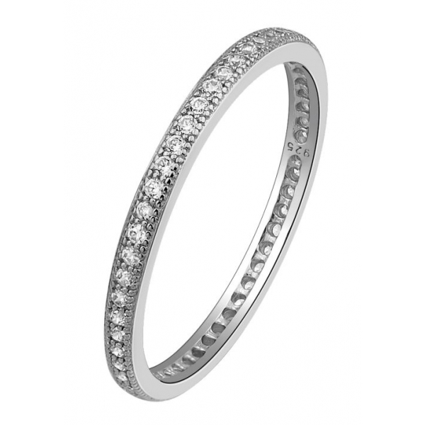 Ring - Sterling Silver Platinum Bonded Eternity Ring With 0.58Tw Rnd Lassaire Simulated Dias