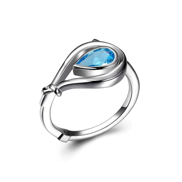 Ring - 14K Rhodium Finished Ring With One Pear Swiss Blue Topaz