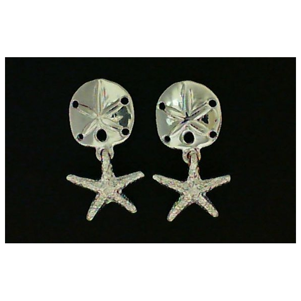 Earrings - Sterling Silver Dangle Starfish And Sand Dollar Earrings Earrings