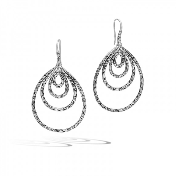 Earrings - Sterling Silver Classic Chain Carved Chain French Wire Earrings