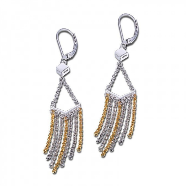 Earrings - Two-Tone Sterling Silver Multi Strand Dangle Earrings