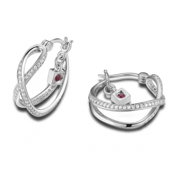 Earrings - Sterling Silver Rhodium Finished Criss-Cross Hoop Earrings With Round Czs
