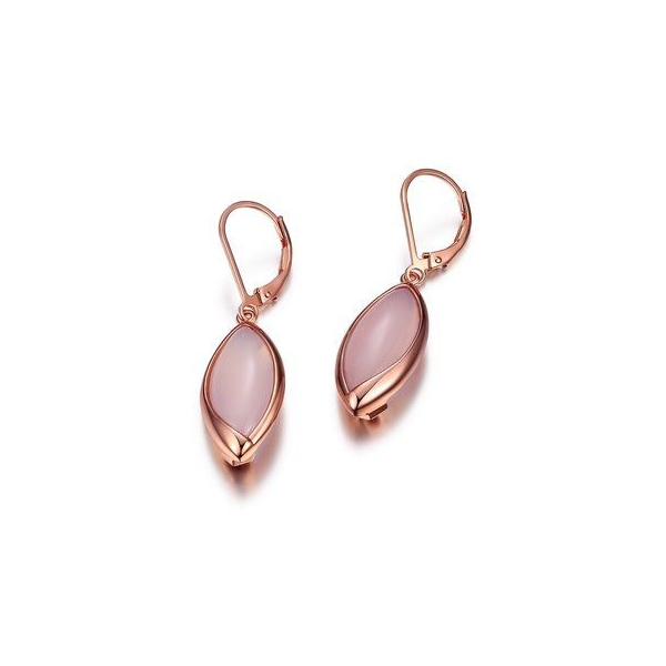 Earrings - Sterling Silver Rose Gold Finished Dangle Earrings With Synthetic Pink Chalcedonys