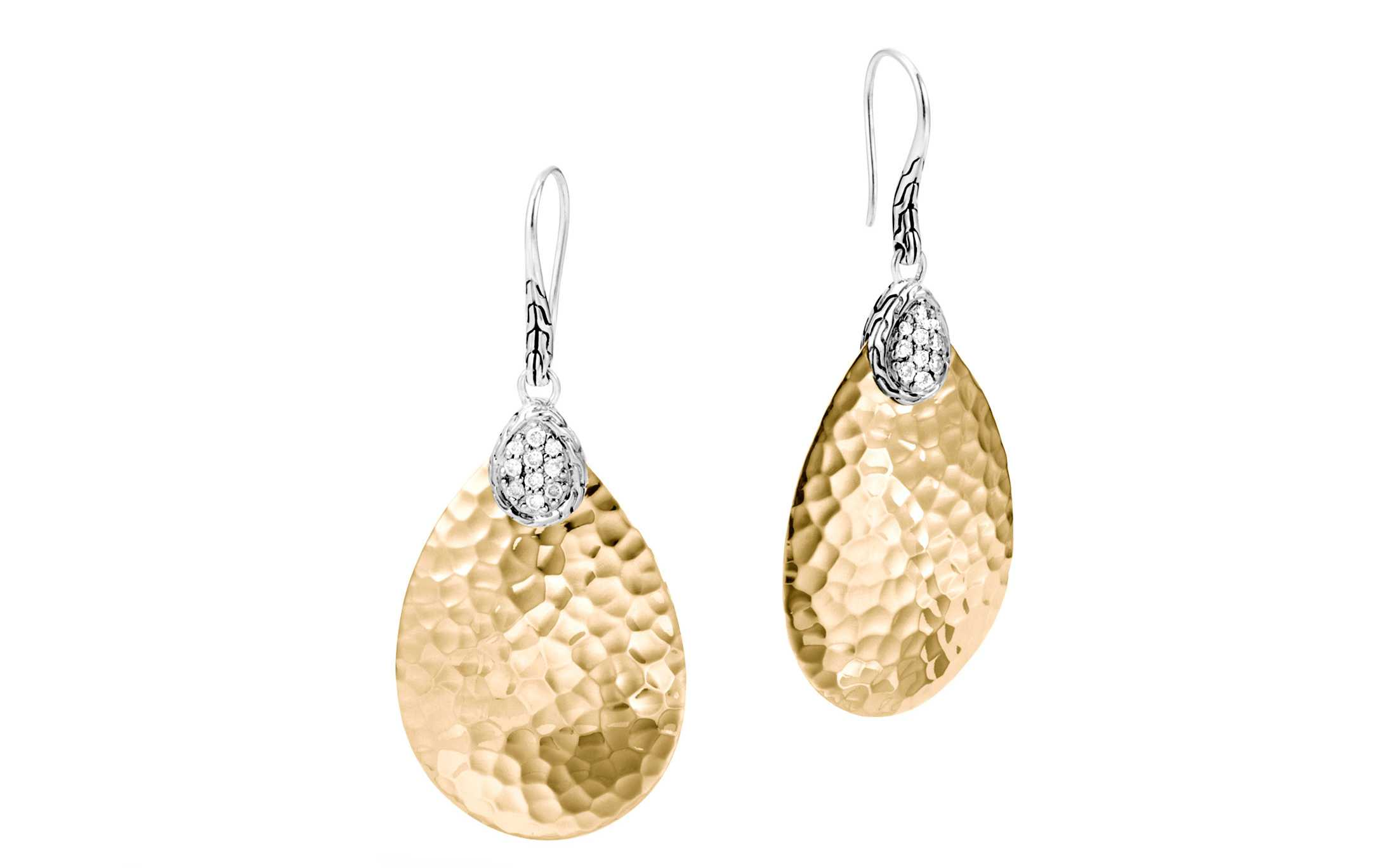 Earrings - Two-Tone Sterling And 18K Pave Classic Chain Small Drop Earrings With 0.27Tw Round Diamonds