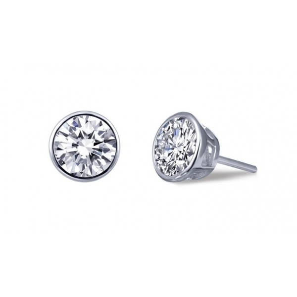 Earrings - Sterling Silver Platinum Bonded Bezel Stud Earrings With 2.56Tw Round Lassaire Simulated Dias