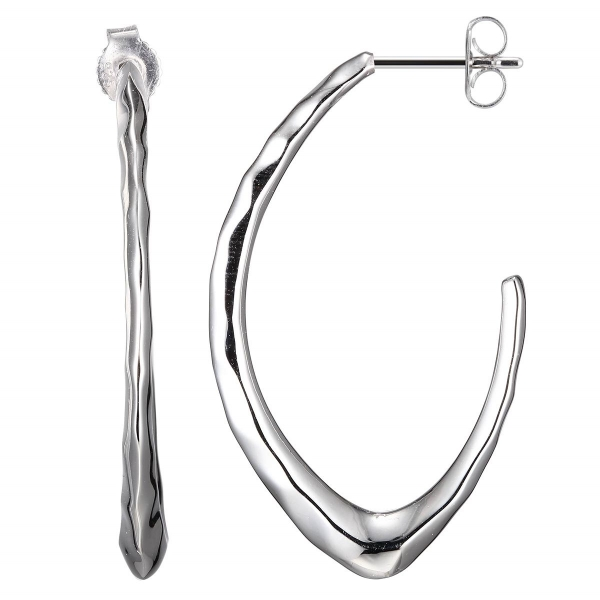 Earrings - Sterling Silver Rhodium Finished Partial Hoop Earrings