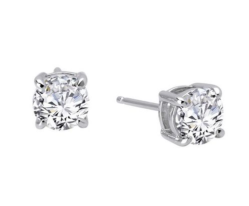 Earrings - Sterling Silver Platinum Bonded Stud Earrings With 0.72Tw Round Lassaire Simulated Dias
