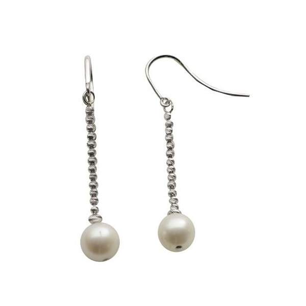 Earrings - Sterling Silver Dangle Earrings With 8.00-8.50Mm Fresh Water Pearls